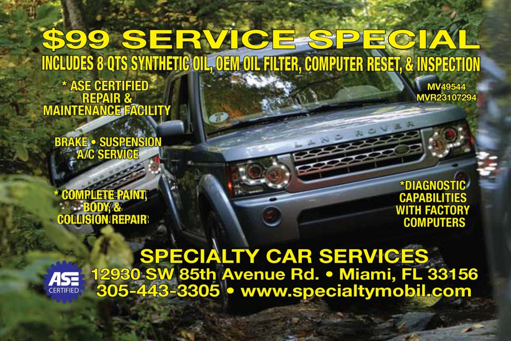 Land Rover Synthetic Oil Service Special $99 Miami Kendall
