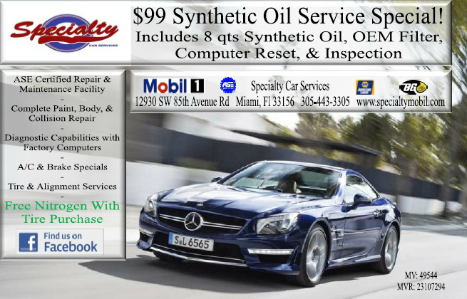 Mercedes Miami Kendall Synthetic Oil Service $99 Oil Special